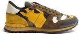 Valentino Rockrunner camoflage suede and leather trainers