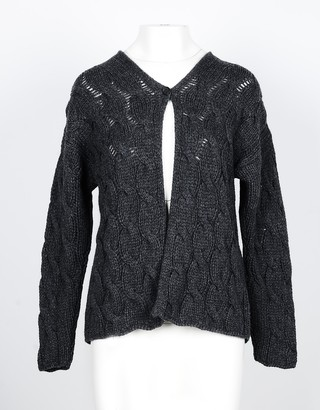 Lamberto Losani Dark Gray Cashmere Women's Cardigan Sweater