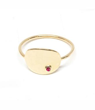 Poppy Finch 14k Gold Ruby Oval Signet Ring