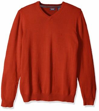 Izod Men's Big and Tall Premium Essentials Solid V-Neck 7 Gauge Sweater