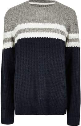 River Island Mens Big and Tall Only & Sons Navy stripe jumper