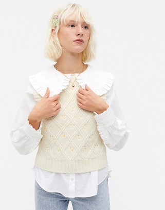 Monki Unni embroidered floral sleeveless knit top in white