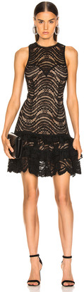 Jonathan Simkhai for FWRD Sleeveless Ruffle Lace Dress in Black | FWRD