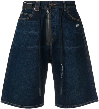 Off-White Zip Drawstring Denim Shorts