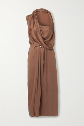 Dodo Bar Or Ora Belted Satin Midi Dress - Tan