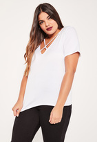 Missguided Plus Size White Cross Front T-Shirt