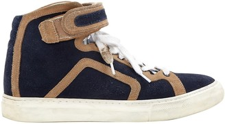 Pierre Hardy Navy Suede Trainers