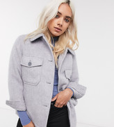 Topshop Petite oversized jacket in light grey