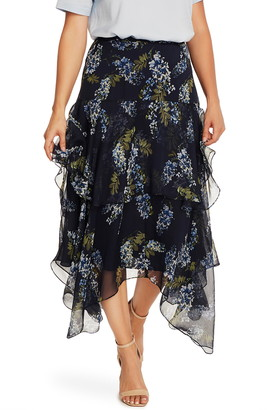 Vince Camuto Weeping Willow Tiered Asymmetrical Skirt