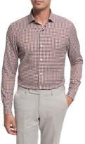Ermenegildo Zegna Check Cotton Shirt, Burgundy/Ivory/Gray