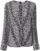 Saint Laurent leopard print gathered blouse - women - Silk - 36