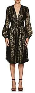 A.L.C. Women's Samantha Leopard-Pattern Silk-Blend Midi-Dress - Black