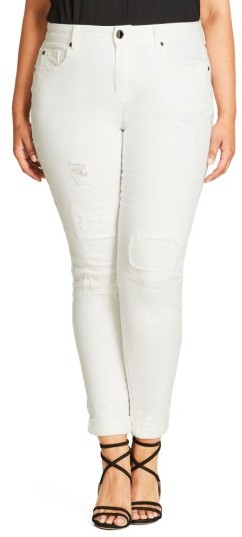 City Chic Plus Size Women's Patched Up Ripped Skinny Jeans