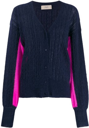 Maison Flaneur two-tone ribbed cardigan