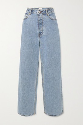 Ganni Net Sustain High-rise Wide-leg Jeans - Light denim