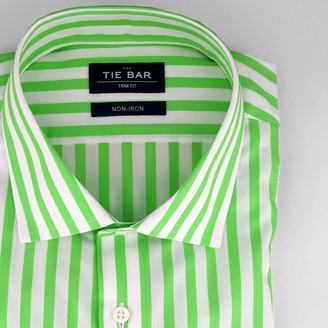 Tie Bar Cabana Stripe Lime Non-Iron Dress Shirt