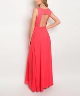 Coral Rose-Bodice Cutout Maxi Dress