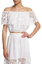 Miguelina Dakota Off-The-Shoulder Lace Crop Top
