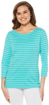 Rafaella Weekend Collection 3/4 Sleeve Boat Neck Stripe T-Shirt-Womens