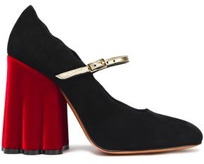 Marni Scalloped Suede Mary Jane Pumps