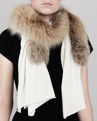 Carolina Herrera Fox Fur-Paneled Knit Scarf, Bone