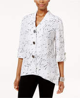 JM Collection Petite Printed Button-Back Shirt, Only at Macy's