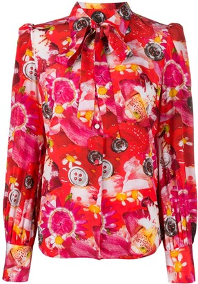 Marc Jacobs Tie Neck Floral Print Silk Blouse