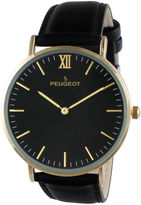 Peugeot Men's Black And Gold Tone Ultra Slim Leather Strap Watch 2050G