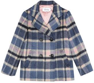 Bonpoint Checked faux fur coat