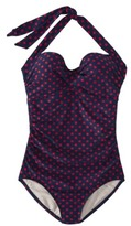 Merona Women's 1-Piece Polka Dot Swimsuit -Navy/Red