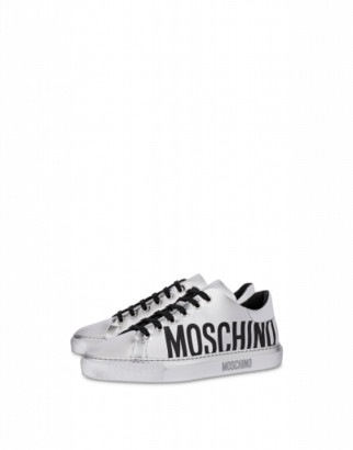 Moschino Laminated Faux Leather Sneakers Woman Silver Size 35 It - (5 Us)