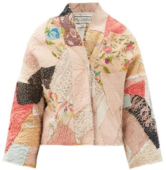 By Walid Cassie Floral-embroidered Patchwork Silk Jacket - Pink Multi