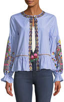 philosophy Embroidered Tie-Neck Topper Jacket