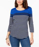 Karen Scott Striped Grommet-Detail T-Shirt, Created for Macy's
