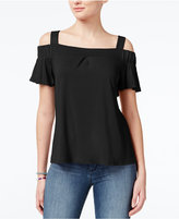 Ultra Flirt Juniors' Cold-Shoulder Flutter Sleeve Top