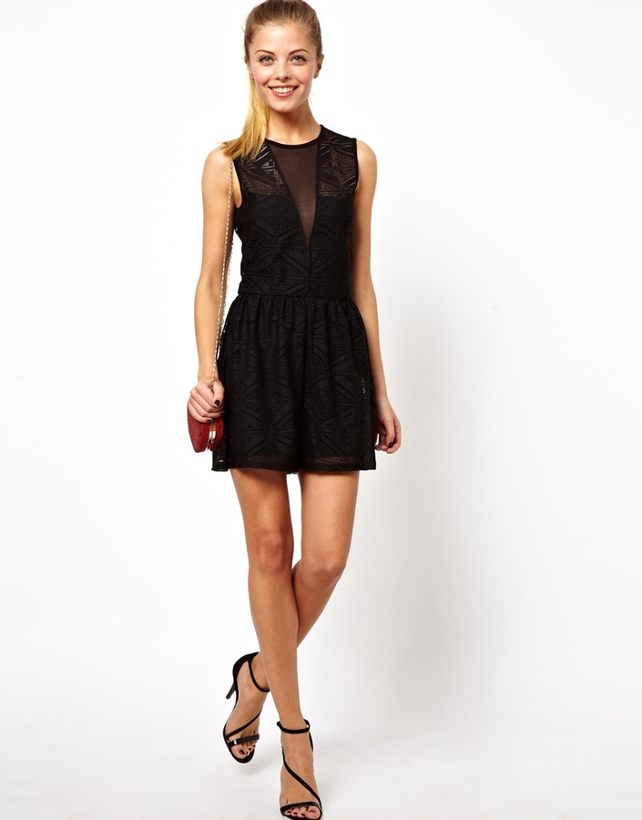 Asos Playsuit in Lace with Deep V Detail