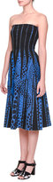 Bottega Veneta Strapless Midi Dress w/ Inverted Seams, Blue/Bright Black