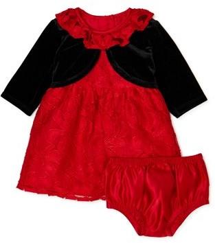 Wonder Nation Toddler Girls Lace Christmas Dress & Velvet Shrug, 2-Piece Set, Sizes 2T-5T