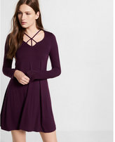 Express strappy long sleeve trapeze dress