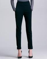 Donna Karan Cuffed High-Waist Trousers, Black