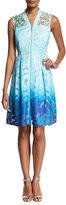 Elie Tahari Kalli Sleeveless Zip-Front Ombre Lace Dress, Light Blue