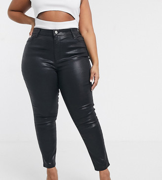 Asos DESIGN Curve Ridley high waisted skinny jeans in coated black