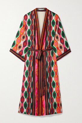 Alice + Olivia - Flora Belted Printed Satin Kimono - Red