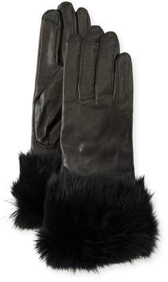 Neiman Marcus Leather Tech Gloves w/ Fur Cuffs