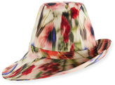 Philip Treacy Printed Sidesweep Hat w/ Pin, Multicolor