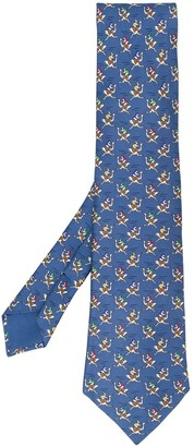 Hermes 2000's Pre-Owned Ostrich Printed Tie