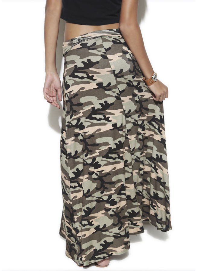 Wet Seal Camouflage Printed Maxi Skirt