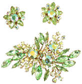 One Kings Lane Vintage Beau Jewels Peridot Crystal Brooch Suite