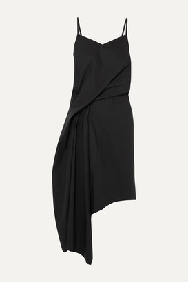 Marques Almeida Asymmetric Draped Cotton-poplin Dress - Black