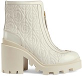 Gucci G rhombus leather mid-heel ankle boot